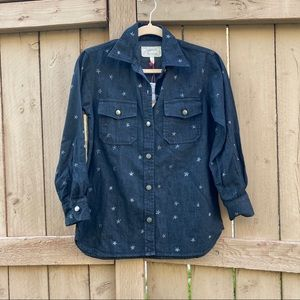 NWT Current Elliot Perfect Star Print Denim Shirt